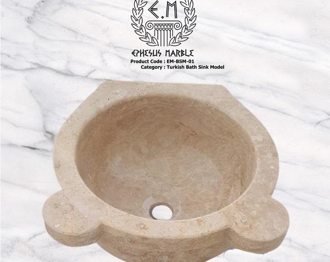 Turkish Bath Sink Model, Travertine Washbasin, Handmade Bathroom Sink, Bathroom Sink Washbasin