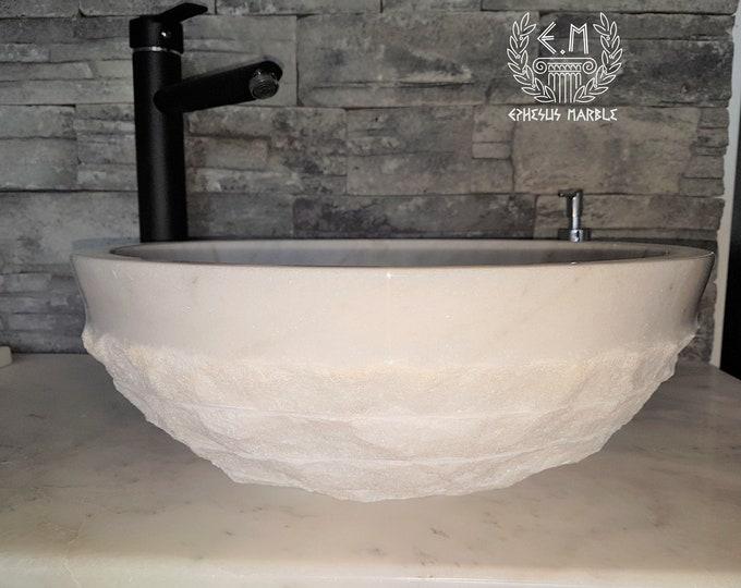 Mugla White Outside Blasting Marble Sink, Handmade Bathroom Sink