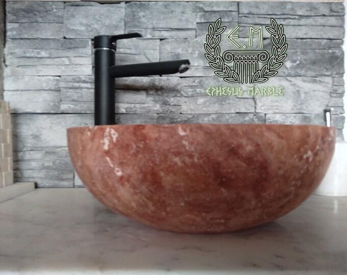Red Bowl Travertine Marble Sink, Handmade Bathroom Sink