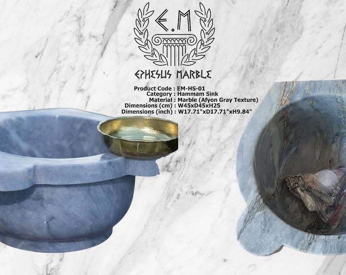 Turkish Bath Sink, Turkish Hammam Sink, Spa Sink, Spa Decor, Turkish Hamam Sink, Hamam Decor, Afyon Gray