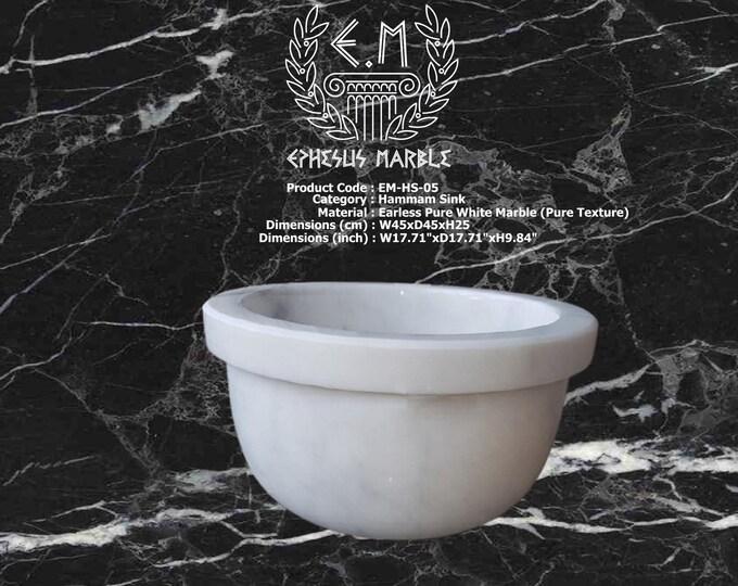 Turkish Bath Sink, Turkish Hammam Sink, Spa Sink, Turkish Hamam Sink, Hamam Decor, Earless Pure White Marble