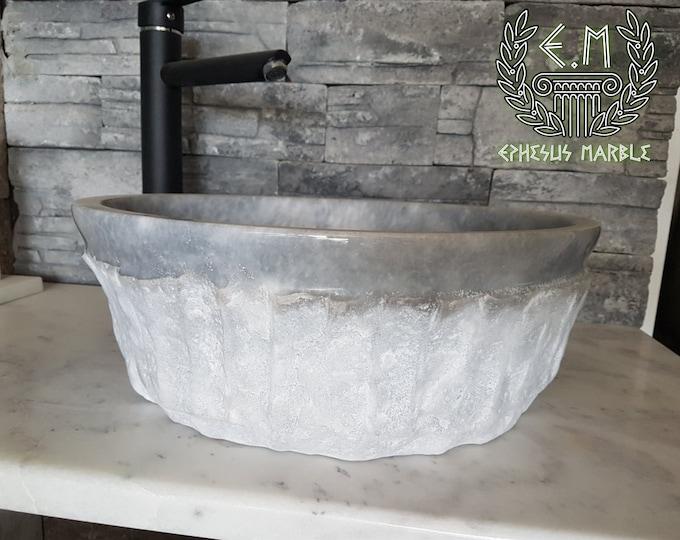 Gray Cylinder Outside Blasting Marble Sink-2, Handmade Bathroom Sink, Bathroom Sink Washbasin,