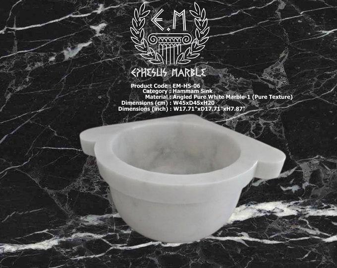 Turkish Bath Sink, Turkish Hammam Sink, Spa Sink, Turkish Hamam Sink, Angled Pure Texture Marble-1