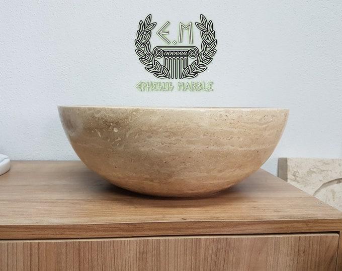 Travertine Bowl Marble Sink, Handmade Bathroom Sink, Bathroom Sink Washbasin