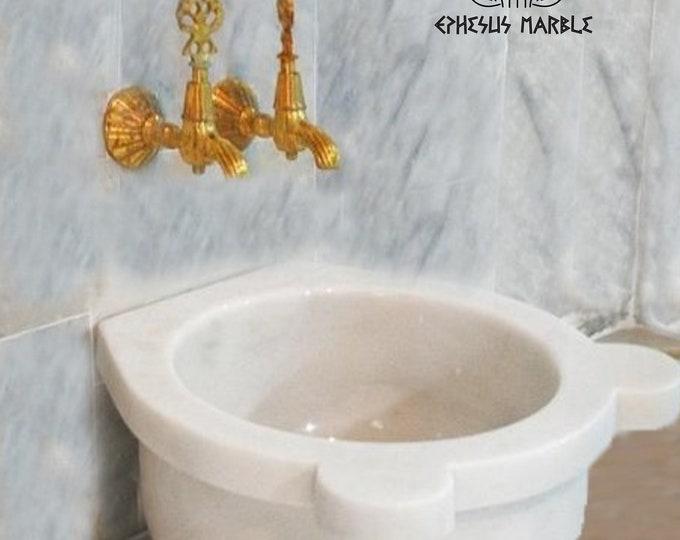 Turkish Bath Sink, Turkish Hammam Sink, Spa Sink, Turkish Hamam Sink, Classic White Marble Texture