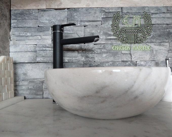 Mugla White Bowl Marble Sink, Handmade Bathroom Sink, Bathroom Sink Washbasin