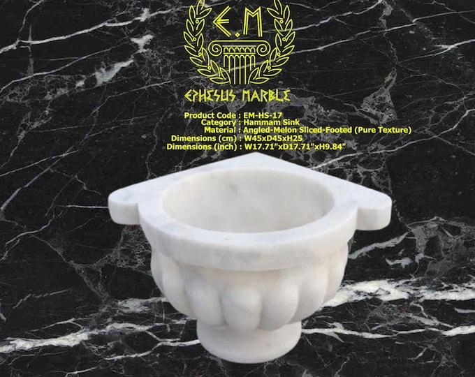 Turkish Bath Sink, Turkish Hammam Sink, Spa Sink, Turkish Hamam Sink, Angled Melon Sliced Pure Texture