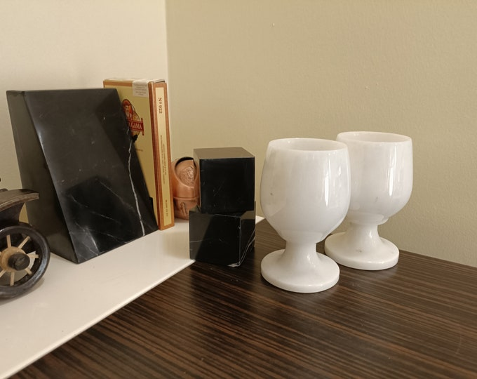 Set of 2 Natural Stone Wine Glasses - Turkish White Marble Goblets - White Marble Cups - Vintage Marble Cups - Marble Barware
