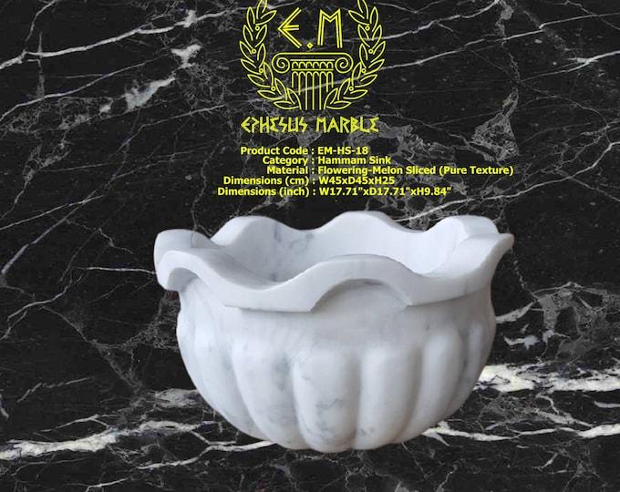 Turkish Bath Sink, Turkish Hammam Sink, Spa Sink, Turkish Hamam Sink, Flowering Melon Sliced Pure Texture