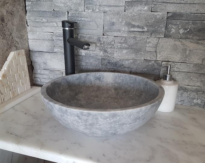 Gray Marble Bowl Sink, Handmade Bathroom Sink, Bathroom Sink Washbasin