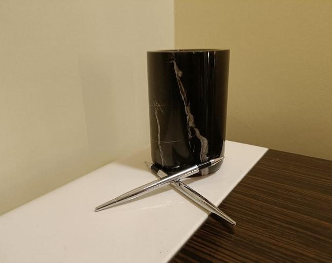 Desk Accessories - Make up Brush Holder- Make up Storage - Marble Flower Vase - Multipurpose Usage