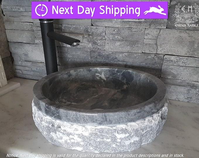 Gray Cylinder Outside Blasting Marble Sink, Handmade Bathroom Sink, Bathroom Sink Washbasin, Limited Beautiful Texture