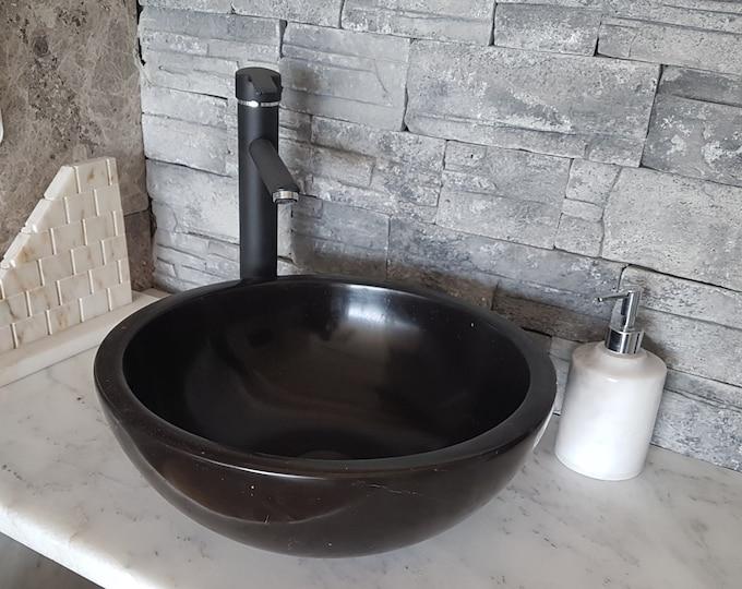 Taurus Black Marble Bowl Sink, Handmade Bathroom Sink, Bathroom Sink Washbasin