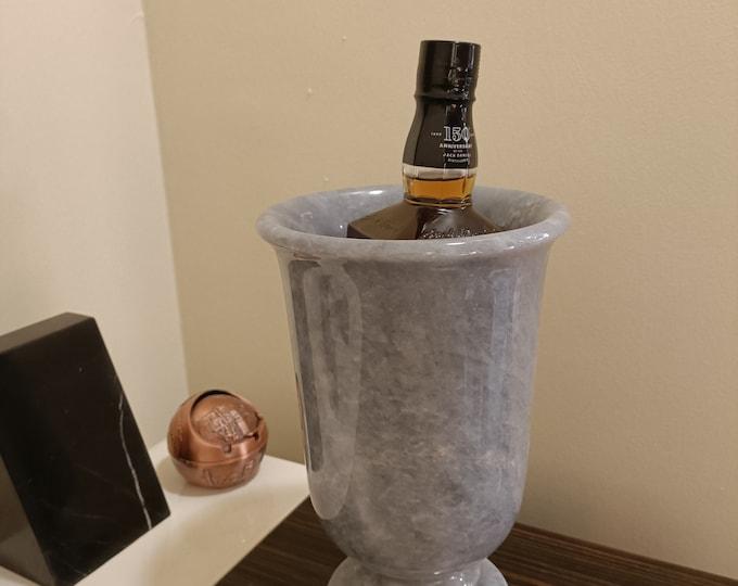 Gray Marble Wine Cooler - Marble Wine Cooler - Marble Flower Vase - Stone wine Cooler - Handmade Marble Piece - Multipurpose Usage
