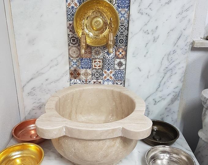 Turkish Bath Sink, Turkish Hammam Sink, Spa Sink, Spa Decor, Turkish Hamam Sink, Hamam Decor, Travertine