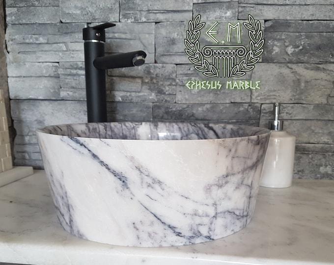Mugla Lilac Bowl Champered Marble Sink, Handmade Bathroom Sink