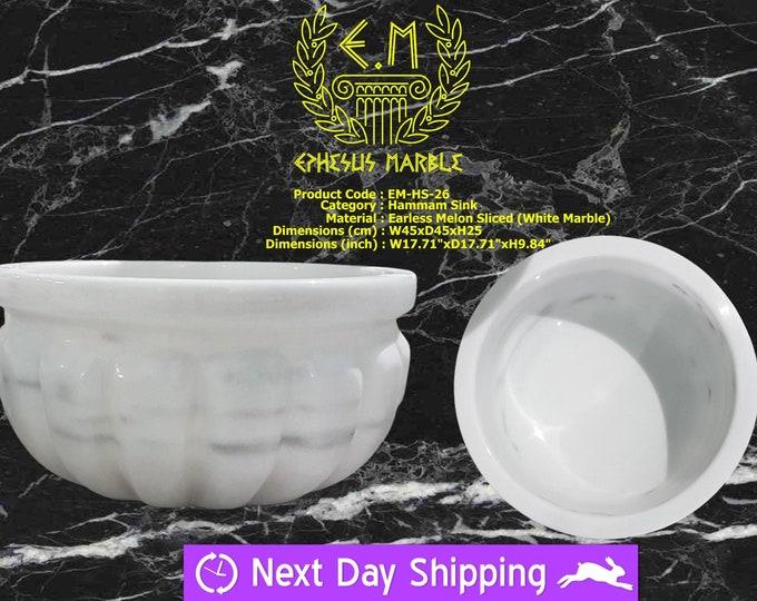 Turkish Bath Sink, Turkish Hammam Sink, Spa Sink, Spa Decor, Hamam Decor, Earless Melon Sliced White Marble