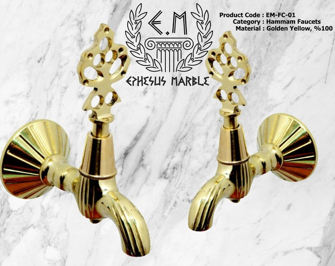 Authentic Hammam Taps - Ottoman Tap, Vintage Faucets - Golden Yellow - Antique - Tumbled - Chrome Plated - Silver - Bath Faucets