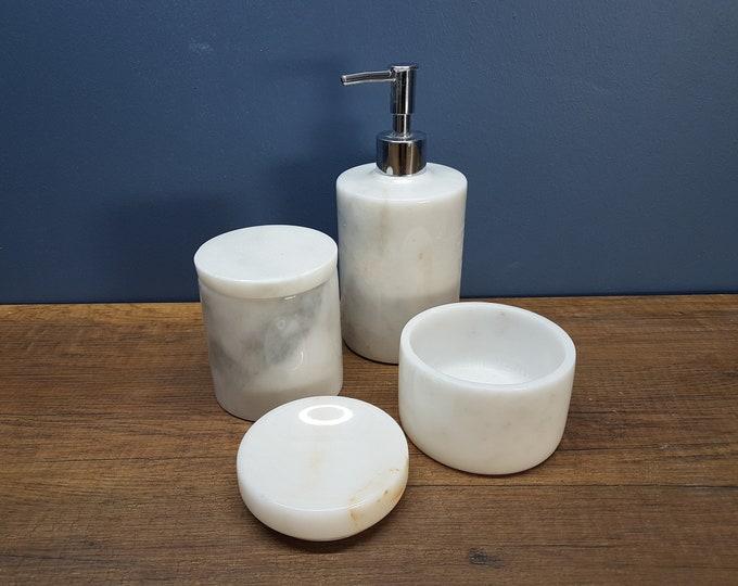 Bathroom Accessories - Luxury Bathroom Storage Set - Bathroom Decoration Accessories - Marble Tray Soap Dispenser - 4 Pieces Marble Set