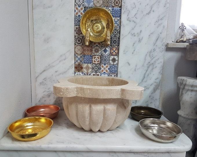 Turkish Bath Sink, Turkish Hammam Sink, Spa Sink, Spa Decor, Hamam Decor, Melon Sliced, Travertine