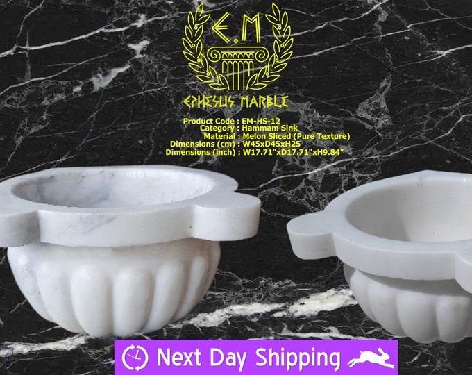 Turkish Bath Sink, Turkish Hammam Sink, Spa Sink, Spa Decor, Hamam Decor, Melon Sliced White Marble