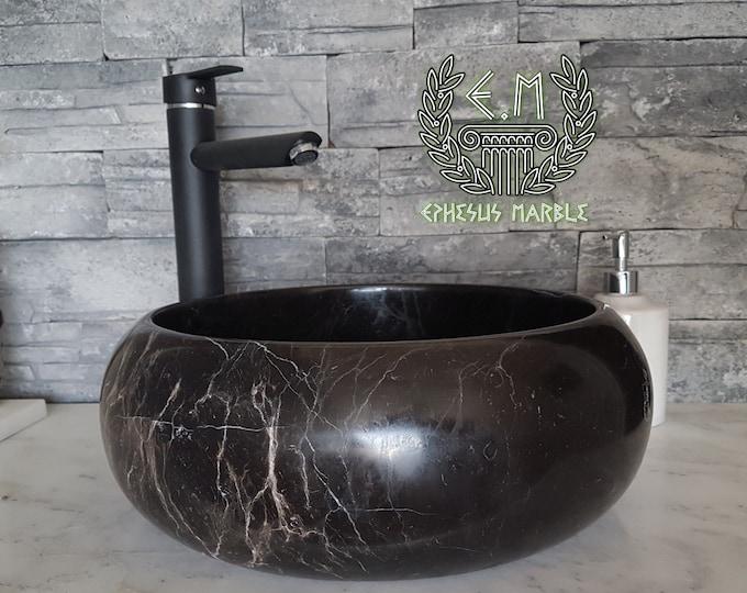 Taurus Black Roller Marble Sink, Handmade Bathroom Sink, Bathroom Sink Washbasin