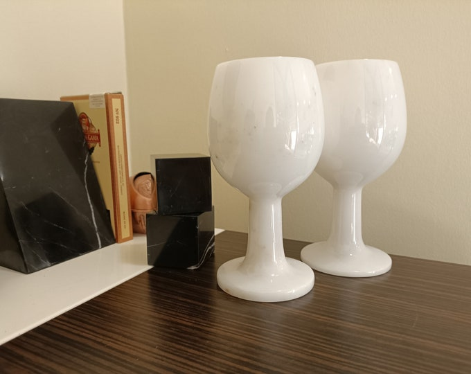 Turkish White Marble Goblets - Set of 2 Natural Stone Wine Big Glasses - White Marble Cups - Vintage Marble Cups - Marble Barware