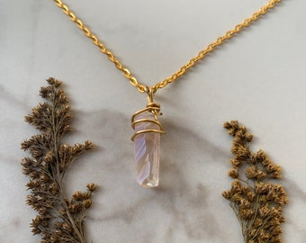 Rose luster quartz stone clear gemstone crystal with rose pink tint and gold wire wrap gold chain necklace