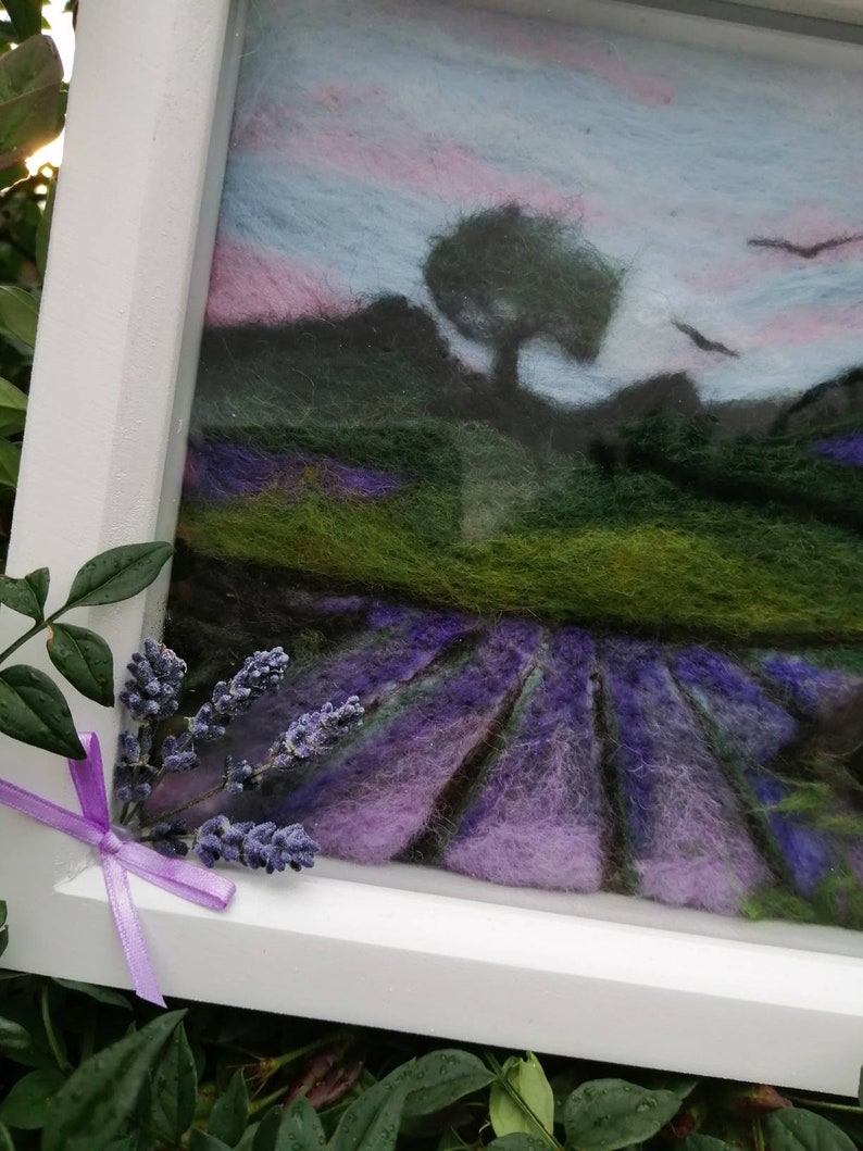 Framed needle felted wool art Fields of Tranquility
