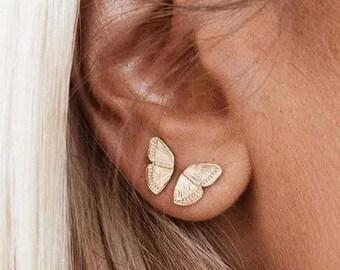 18K GF Dainty Gold Butterfly Dangle Earrings,Earrings for Little Girls,Butterfly Jewelry,Minimalist Charm Earrings,FlowerGirl Gift for her