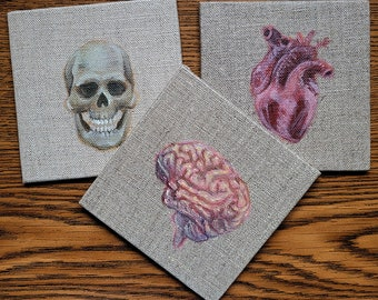 Skull, Brain, and Heart: Set of 3 Acrylic paintings on Linen Canvas Panels
