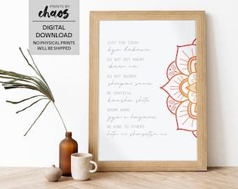 Reiki Principles Art Printable // Japanese Print // Just For Today Wall Art // Reiki Chakra Healing // Inspirational Poster