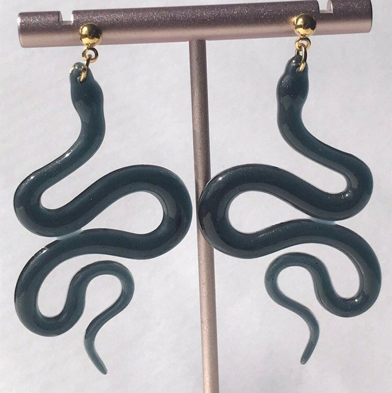 Brass Studs Snake Earrings Unique Earrings Resin Earrings reptile jewelry
