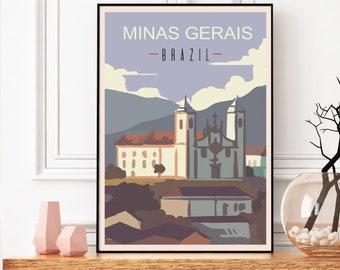 Minas Gerais Print, Brazil Posters, Vintage Travel Print, Brazil Travel Gift, Brazil Print, Brazil Artwork, Brazil Wall Art, Colonial Church
