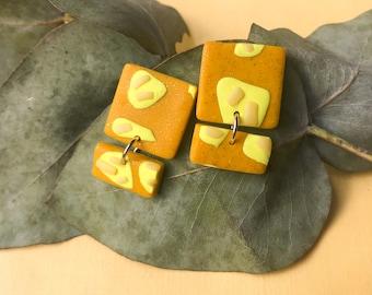 Checkmate Mini Statement Polymer Clay Earrings  Handmade Modern Dangle Earrings