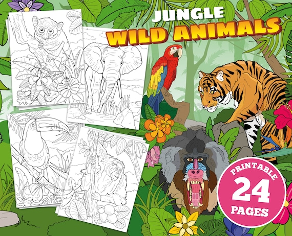 24 printable pages for kids Jungle Wild Animals tropical