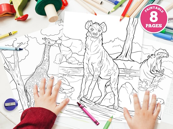 8 pack  Printable Digital Coloring Pages for Kids. African