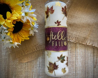Hello Fall Tumbler, made  with custom glitter, and vinyl, wine/modern/skinny/fatty tumbler with lid & straw