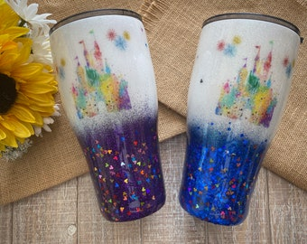 Disney Inspired Watercolor Castle Tumbler, made with custom glitter, waterslides, vinyl, wine/modern/skinny/fatty tumbler with lid & straw