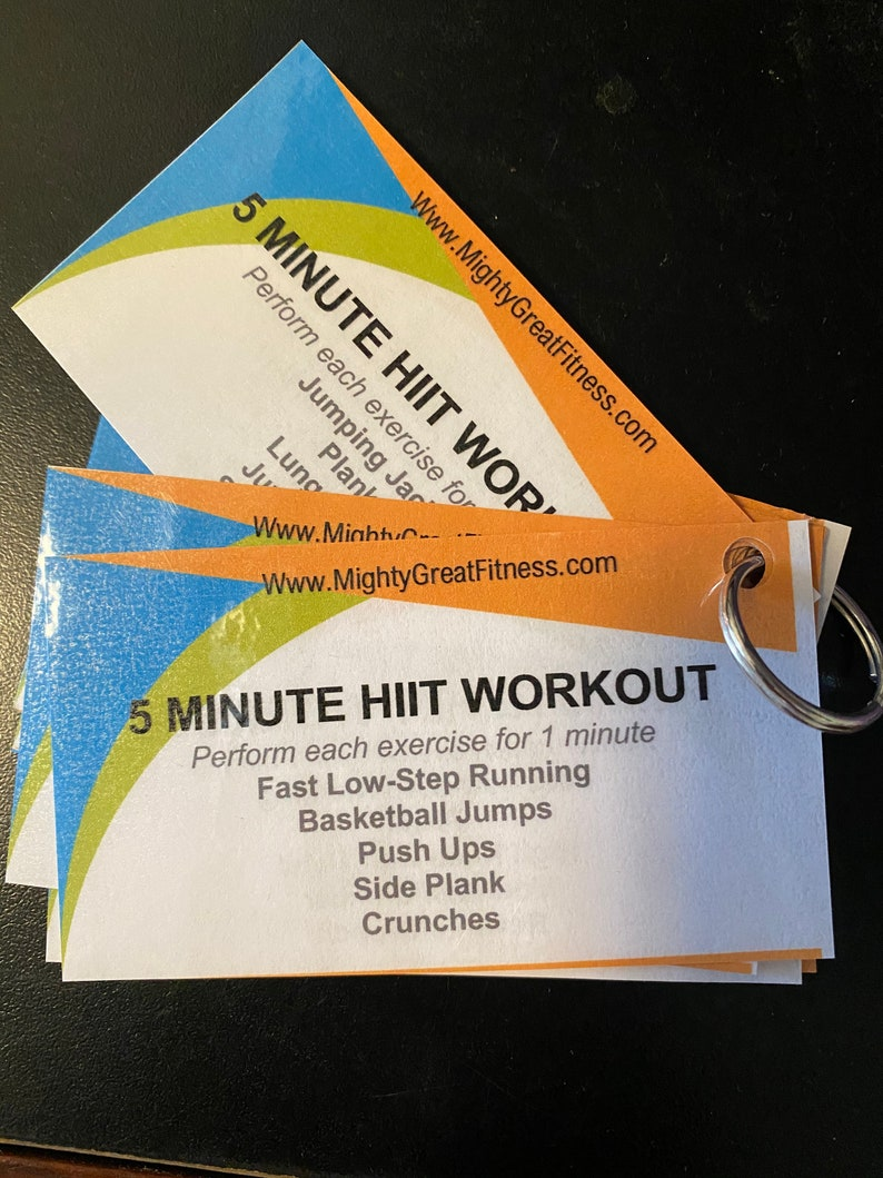 5 Minute HIIT Workout Cards Keychain image 0
