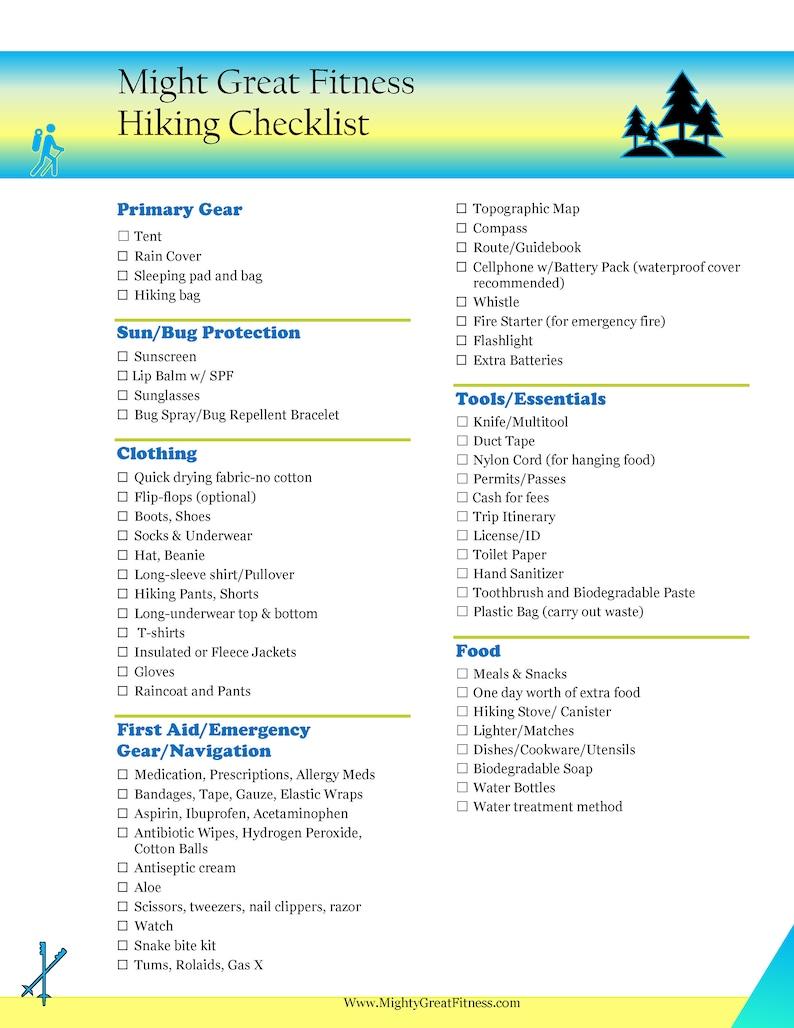 Hiking Checklist image 0