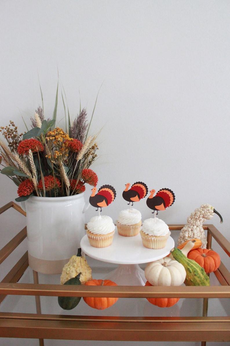 Autumn Theme Friendsgiving Turkey Cupcake Toppers Thanksgiving