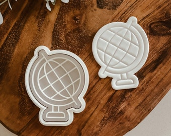 Globe cookie cutter and stamp set   Cookie tool  Cookie Stamp  Fondant Embosser   biscuit cutter   Globe   Birthday gift   Gift   World