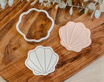 UP Clam Shell cutter and stamp set   Cookie tool  Cookie Stamp  Fondant Embosser  biscuit cutter  Birthday gift   Plant   beach