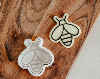 Bee 'Up' cutter and stamp set   Cookie tool  Cookie Stamp  Fondant Embosser  biscuit cutter  Birthday gift   Flower