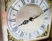 Mid Century Modern Bulova Quadraphonic Quartz Chiming Wooden Mantle Clock, MCM Bulova Wooden Chiming Mantle Clock, Vintage Bulova Clock