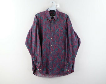 Vintage Paisley Print Cotton Button Up Shirt Colorful Blouse MEDIUM Rich Red and Goldenrod Yellow Paisley Blouse 90s Button Up Shirt