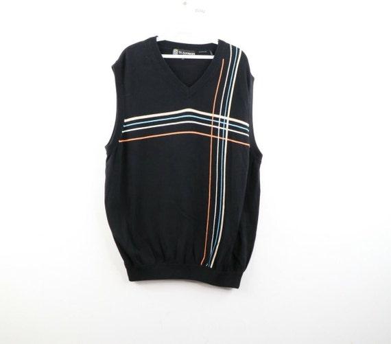90s Streetwear Mens Large Geometric Print V Neck S