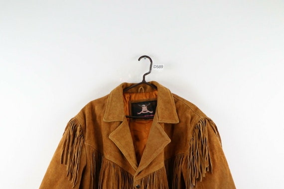 90s Rockabilly Mens 2XL Fringed Suede Leather Wes… - image 2