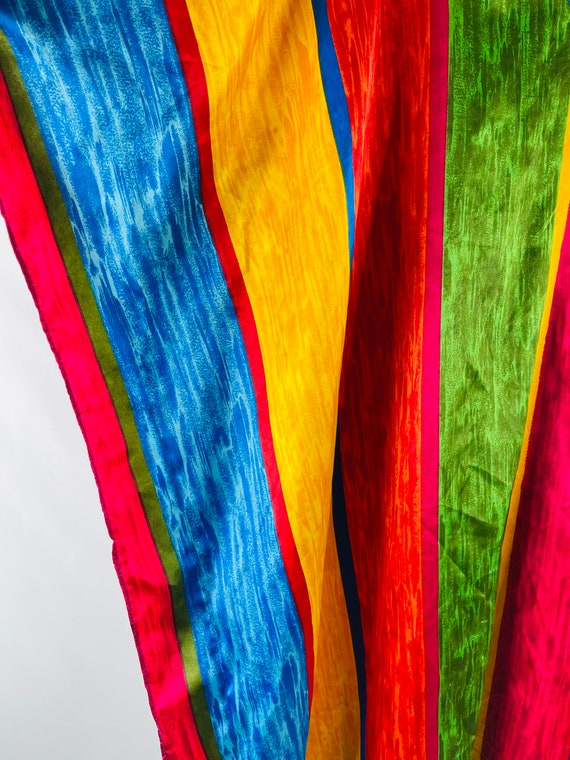 90s Womens OS Rainbow Satin Kaftan Beach Dress, 9… - image 5